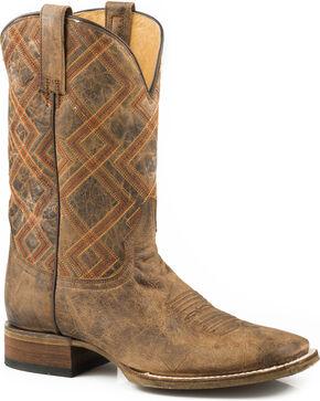 Roper Men's Nash Vintage Brown Geo Embroidered Cowboy Boots - Square Toe, Brown, hi-res