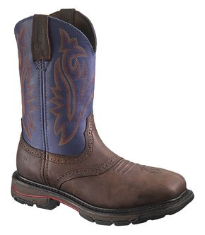 Wolverine Javelina High Plains Western Pull-On Work Boots - Steel Toe, Brown, hi-res