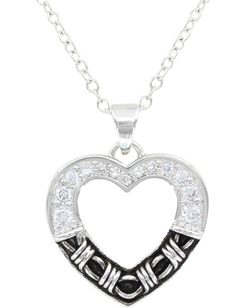 Montana Silversmiths Barbed Wire Heart Necklace, Silver, hi-res