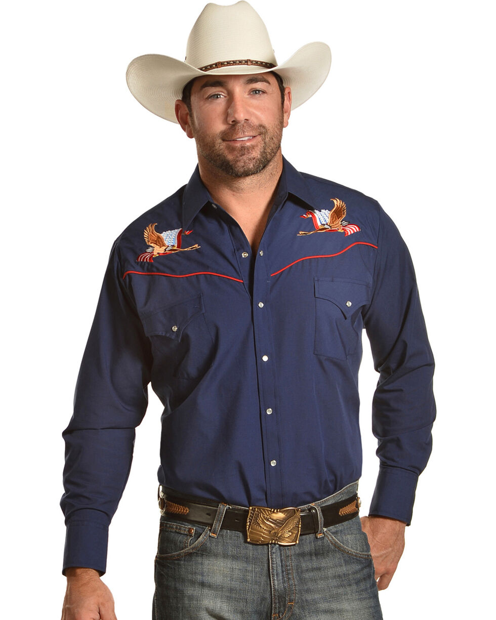 Ely Cattleman Men's Navy Eagle Embroidered Shirt , Blue, hi-res
