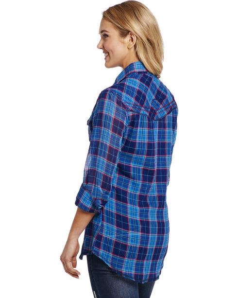 Cowgirl Up Women's Blue Plaid Double Pocket Shirt , Blue, hi-res