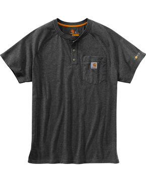 Carhartt Men's Heather Grey Force Cotton Delmont Short Sleeve Henley Shirt - Big, Heather Grey, hi-res