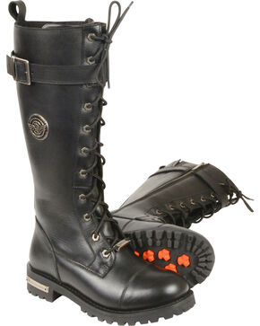"Milwaukee Leather Women's 14"" Lace To Toe High Rise Leather Boots - Round Toe - Wide, Black, hi-res"