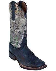Ferrini Men's Camo Cowhide Western Boots - Square Toe, Black, hi-res