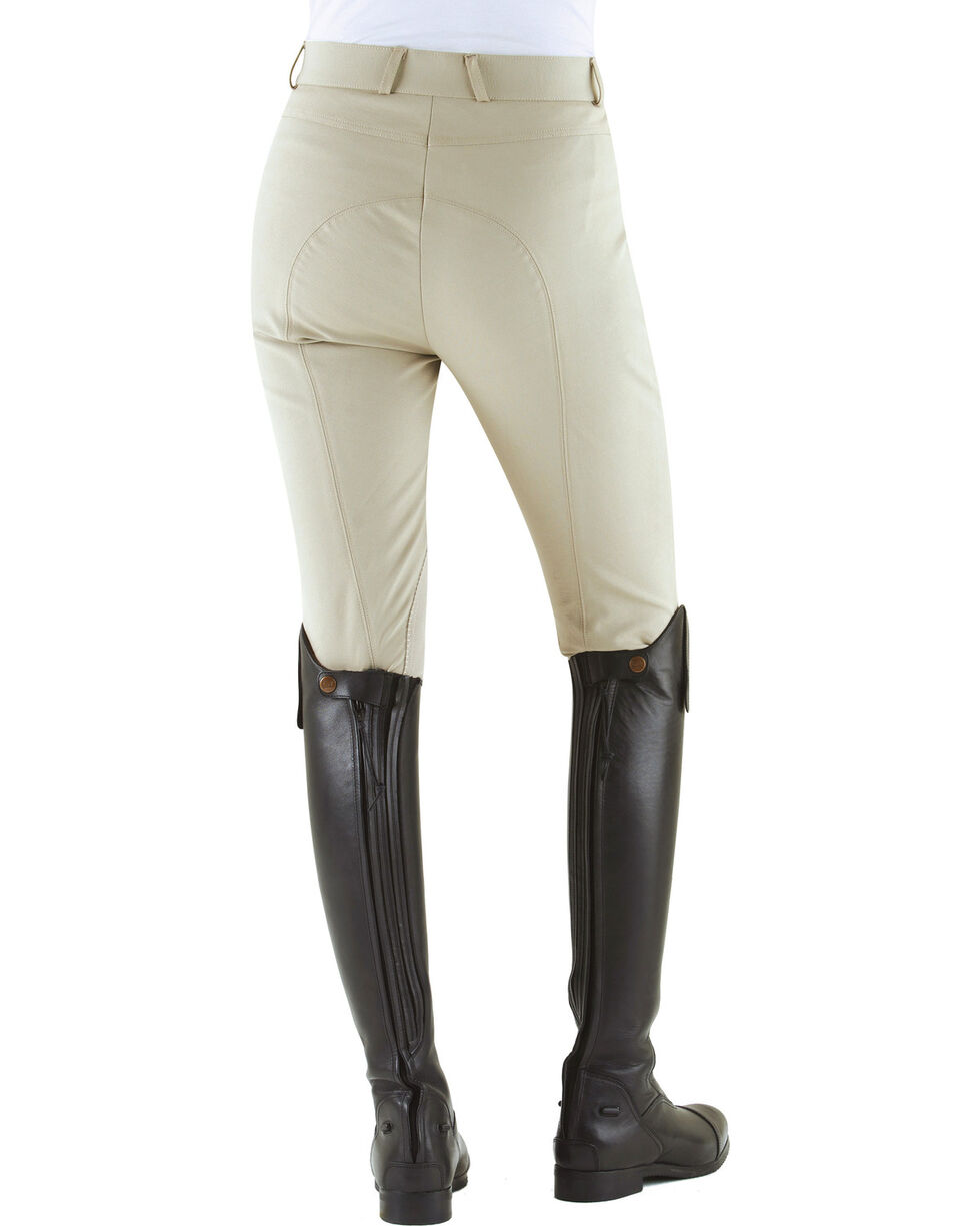 Ovation Women's Milano Knee Patch Breeches, Stone, hi-res
