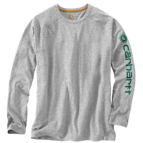Carhartt Men's Force Cotton Delmont Long Sleeve Graphic T-Shirt, Grey, hi-res