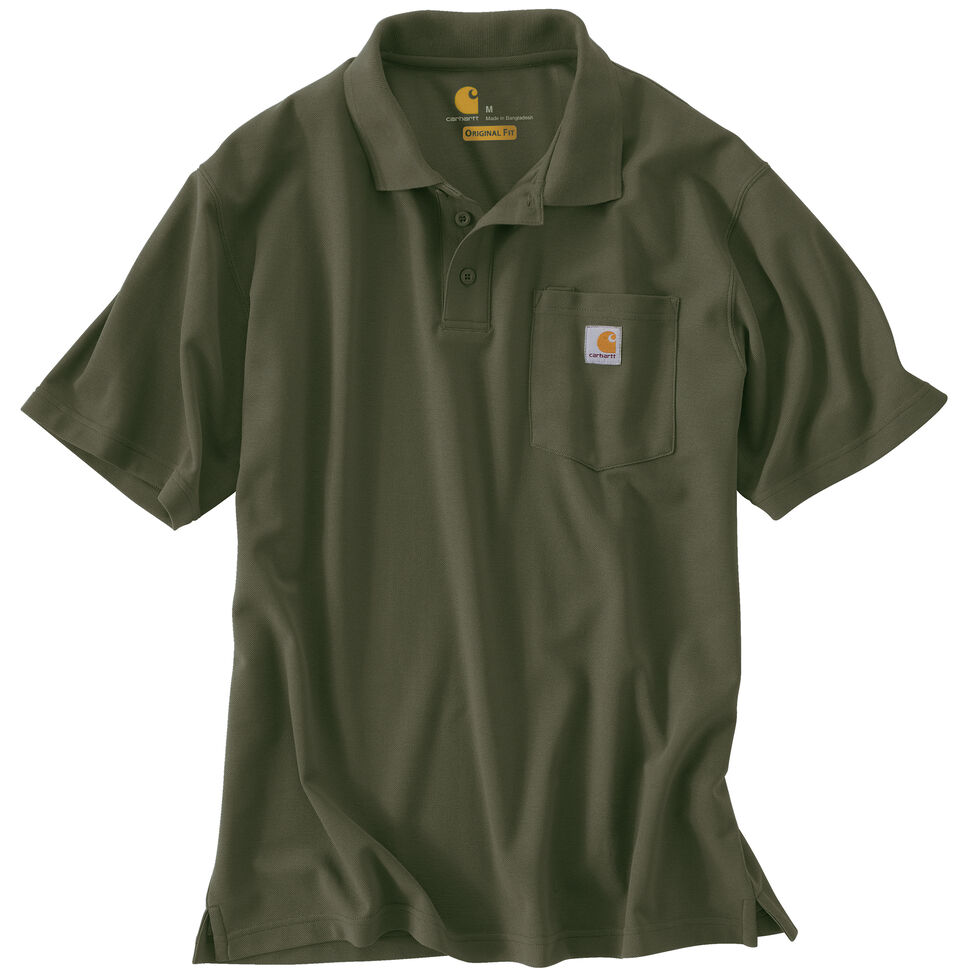 560cd950 Zoomed Image Carhartt Contractor's Work Pocket Polo Shirt, Moss, hi-res