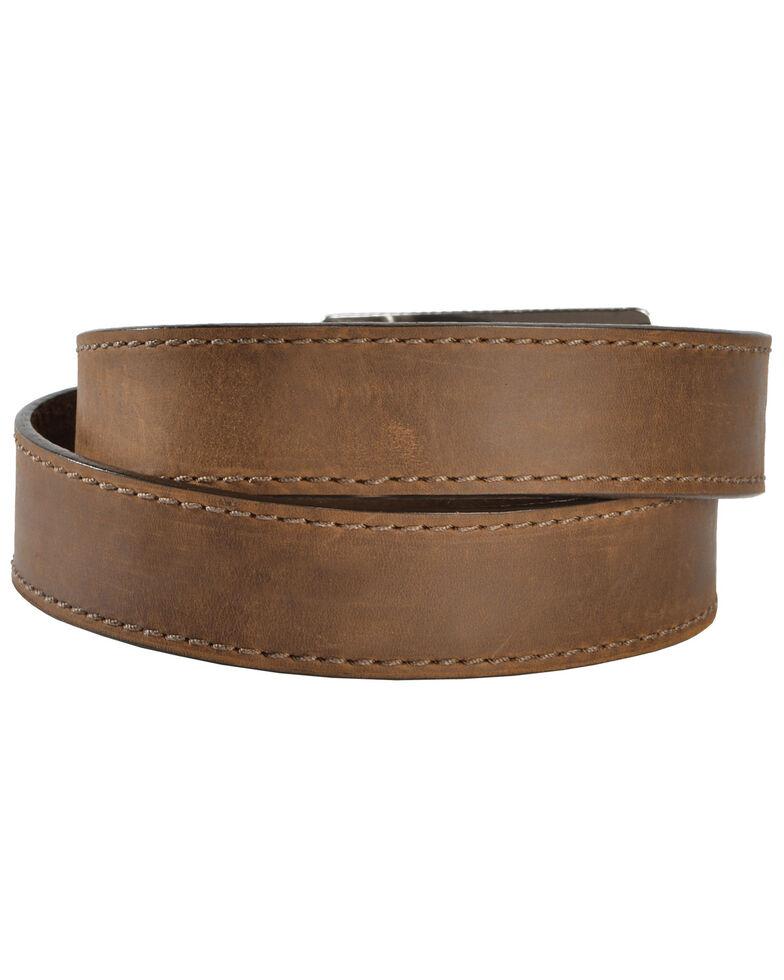 Justin Men's Flying High Flag Buckle Leather Belt, Brown, hi-res