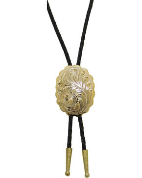 Western Express Gold Plated Engraved Bolo Tie, Gold, hi-res