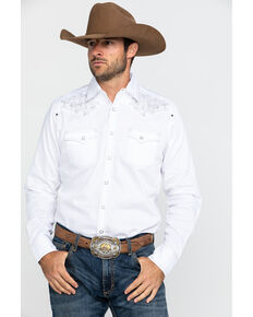 Rock 47 By Wrangler White Solid Embroidered Long Sleeve Western Shirt , White, hi-res