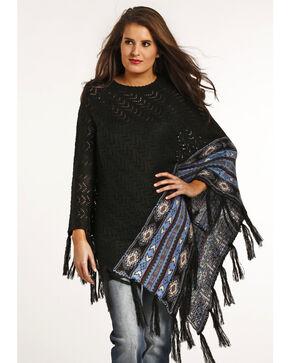 Powder River Outfitters Women's Chevron Knit Stitch Poncho, Black, hi-res