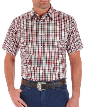 Wrangler Men's Brown Wrinkle Resist Short Sleeve Shirt , Brown, hi-res