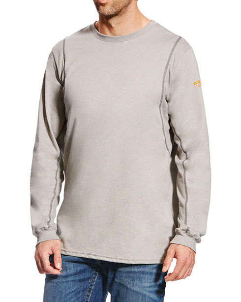 Ariat Men's Grey FR Crew Neck Long Sleeve Shirt, Grey, hi-res
