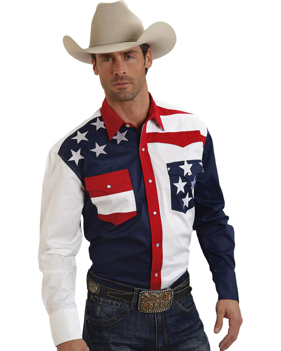 Roper Americana Collection Stars and Stripes Western Shirt, Patriotic, hi-res