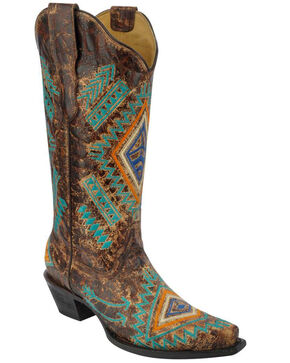 Corral Women's Turquoise Diamond Cowgirl Boots - Snip Toe, Cognac, hi-res