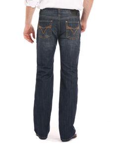 Rock & Roll Cowboy Men's Copper V Embroidery Pistol Straight Leg Jeans, Indigo, hi-res