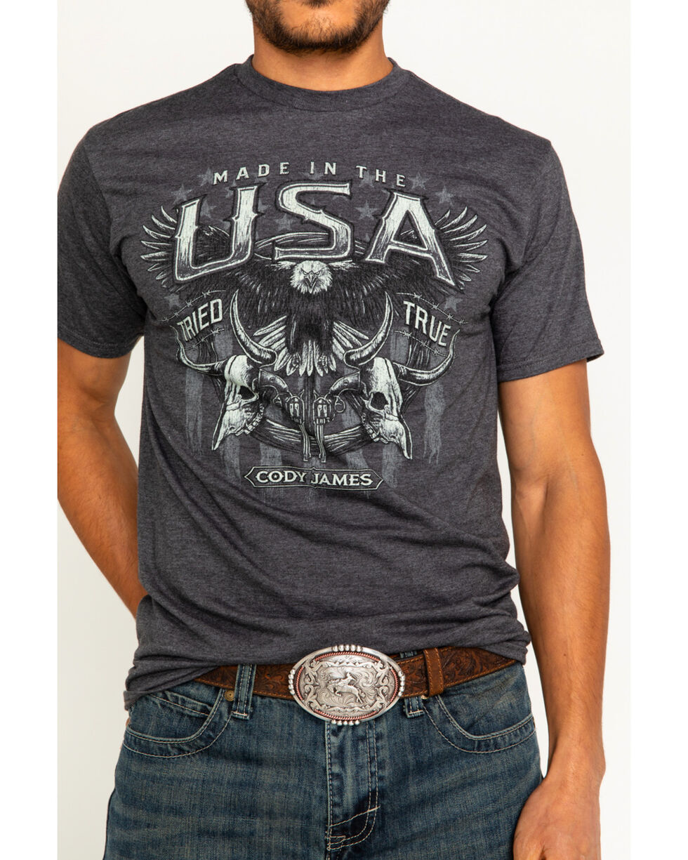 Cody James Men's USA Tried & True Tee, Charcoal, hi-res