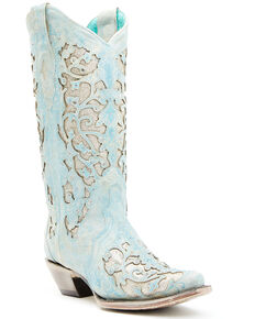 Corral Women's Blue Glitter Inlay Western Boots - Snip Toe, Light Blue, hi-res