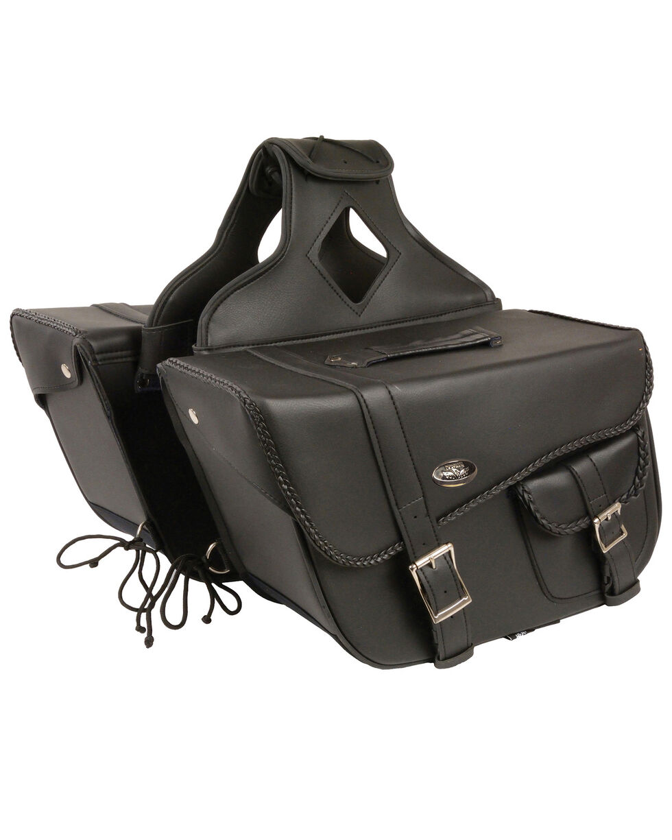Milwaukee Leather Large Braided Throw Over Saddle Bag, Black, hi-res