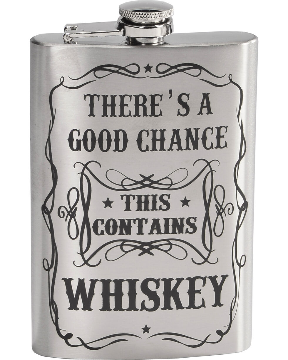 BB Ranch Stainless Steel Whiskey Flask , Silver, hi-res