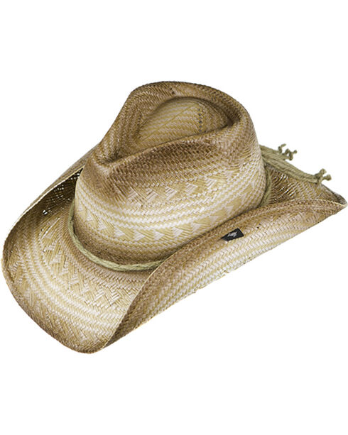 Peter Grimm Triangle Pattern Straw Cowboy Hat, Tan, hi-res