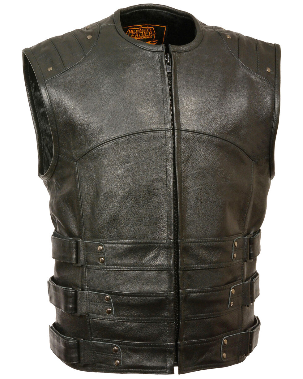 Milwaukee Leather Men's Updated SWAT Style Biker Vest - 4X, Black, hi-res