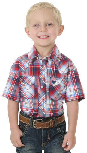 Wrangler Boys' Red Western Fashion Long Sleeve Plaid Jean Shirt , Red, hi-res