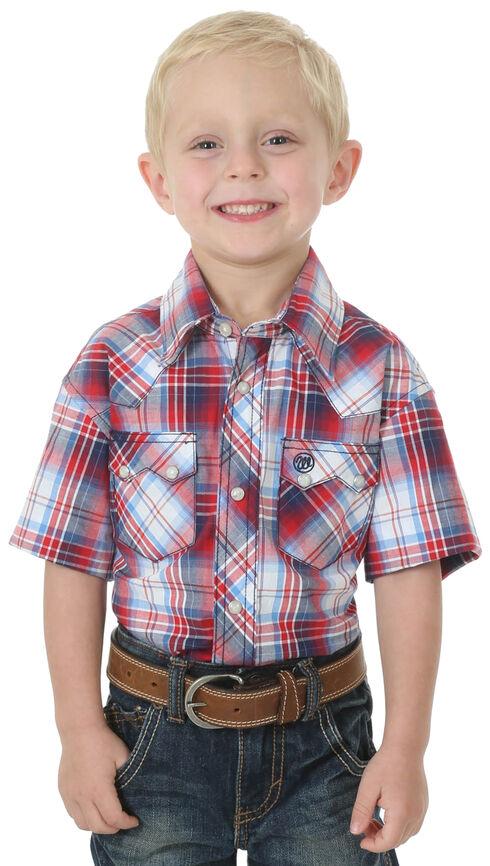 Wrangler Boys' Red Western Fashion Long Sleeve Plaid Jean Shirt , Red, hi-res