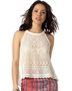Miss Me Women's Must Be Lace Halter Top , Natural, hi-res