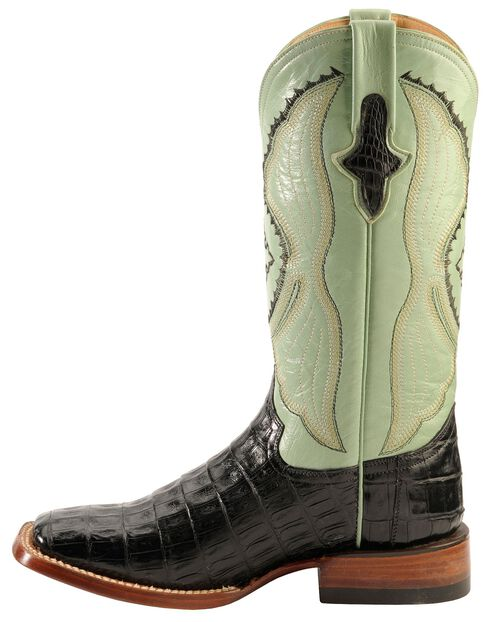 Ferrini Caiman Belly Crocodile Cowgirl Boots - Wide Square Toe, Black, hi-res