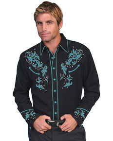 Scully Men's Turquoise Embroidered Long Sleeve Western Shirt, Black, hi-res