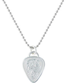 Montana Silversmiths Western Guitar Pick Necklace, Silver, hi-res