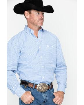 George Strait By Wrangler Men's Mini Check Plaid Long Sleeve Western Shirt - Big & Tall , Blue, hi-res