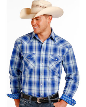 Panhandle Slim Men's Blue Erie Ombre Plaid Long Sleeve Shirt , Blue, hi-res