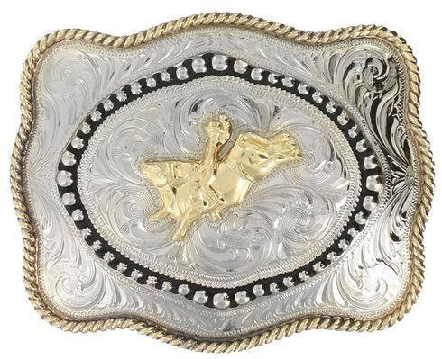 Cody James Men's Bull Rider Belt Buckle, Silver, hi-res