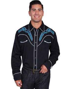 Scully Boot Stitch Embroidered Shirt, Blk/white, hi-res