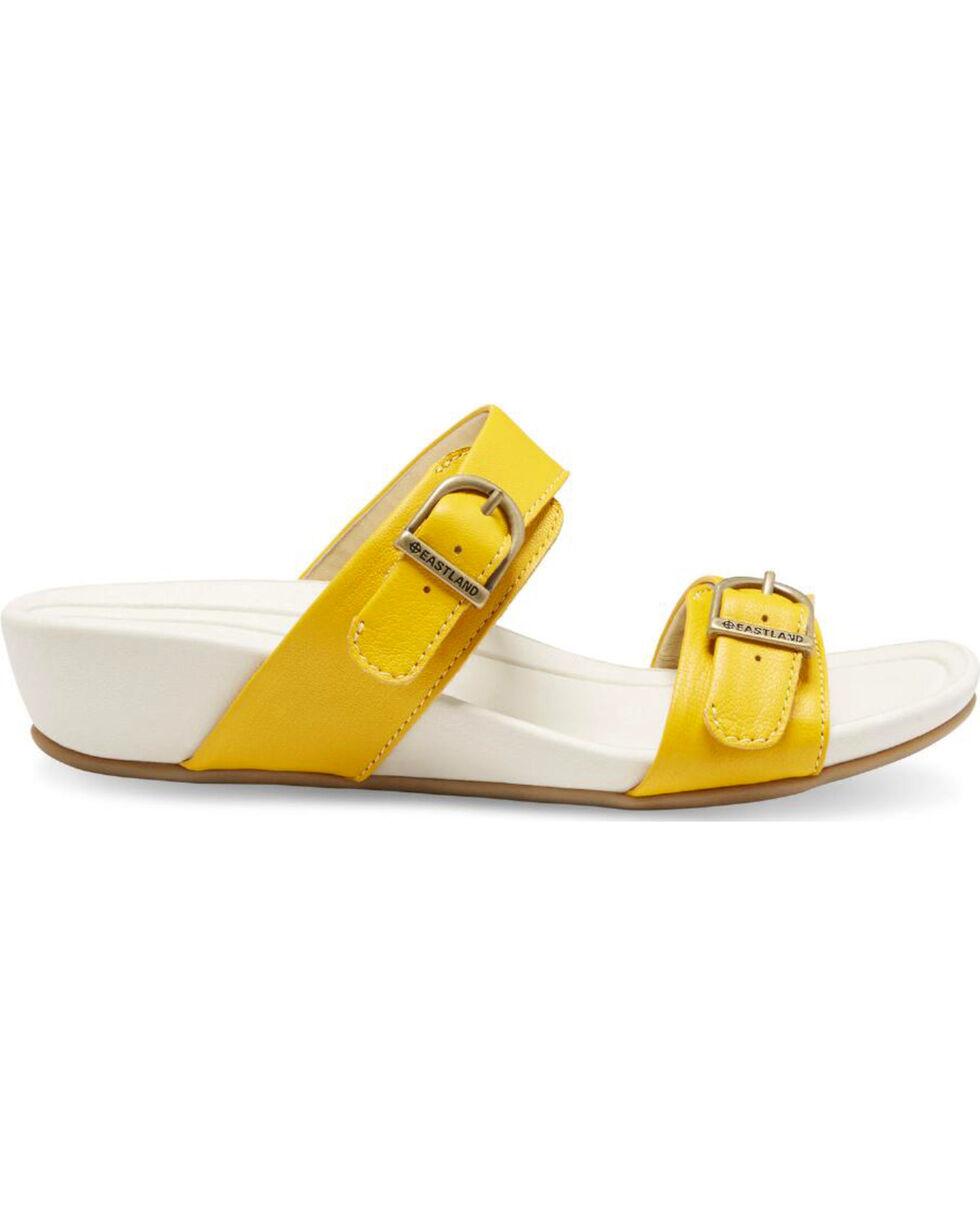 Eastland Women's Yellow Cape Ann Buckle Slide Sandals , Yellow, hi-res