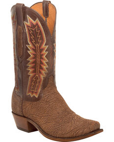 Lucchese Men's Handmade Harrison Chocolate Sueded Sheep Western Boots - Snip Toe, Chocolate, hi-res
