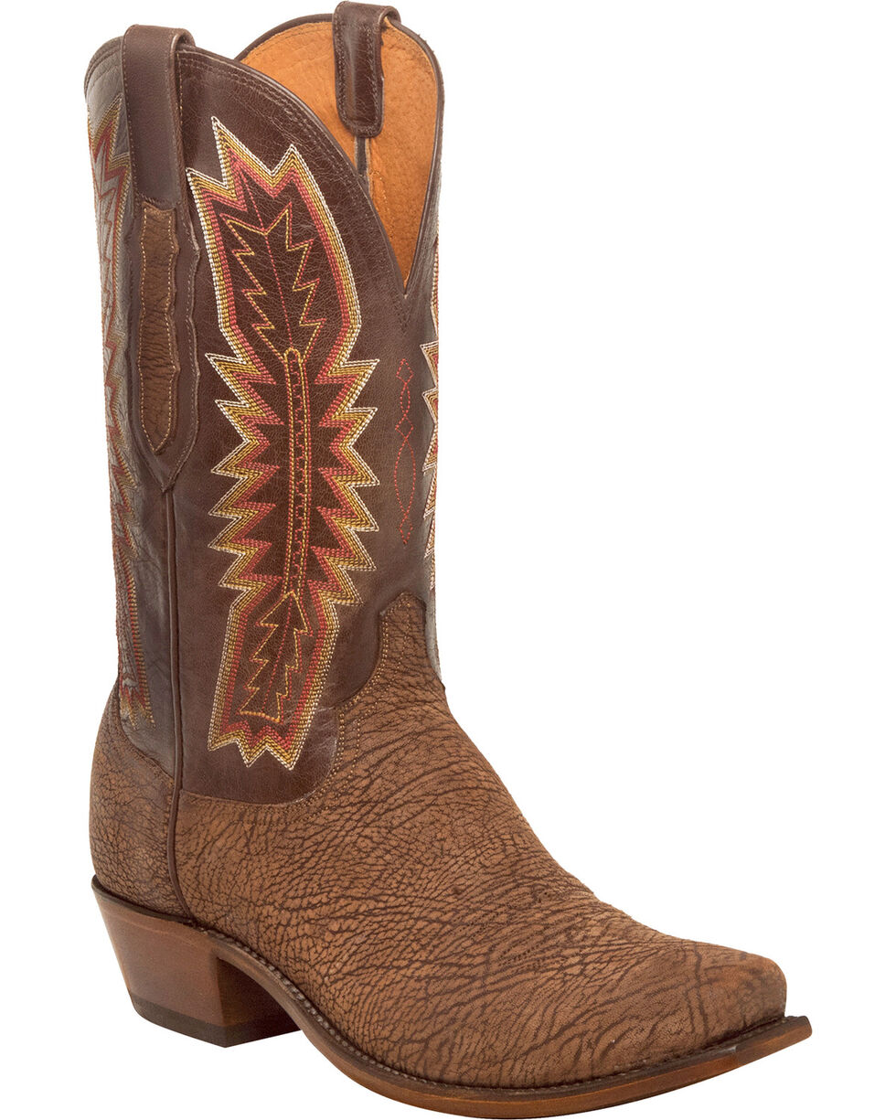 Lucchese Men's Handmade Harrison Chocolate Sueded Sheep Western Boots - Square Toe, Chocolate, hi-res