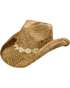 Shyanne Girls' Daisy Straw Hat , Brown, hi-res