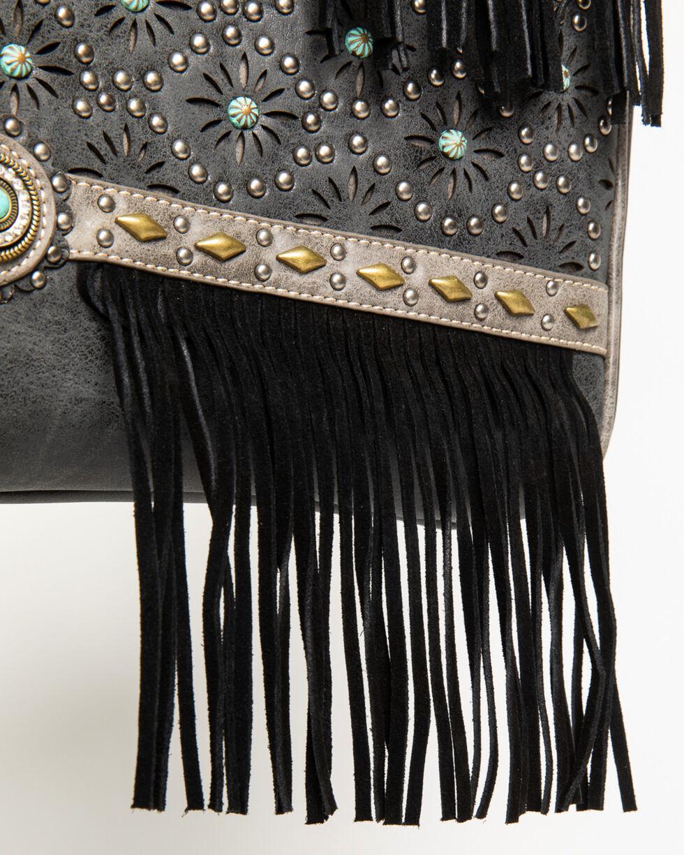 Shyanne Women's Patina Stud Fringe Concealed Carry Tote, Black, hi-res