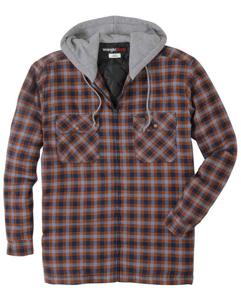 Wrangler Men's Plaid Hooded Quilted Flannel Jacket, Black, hi-res