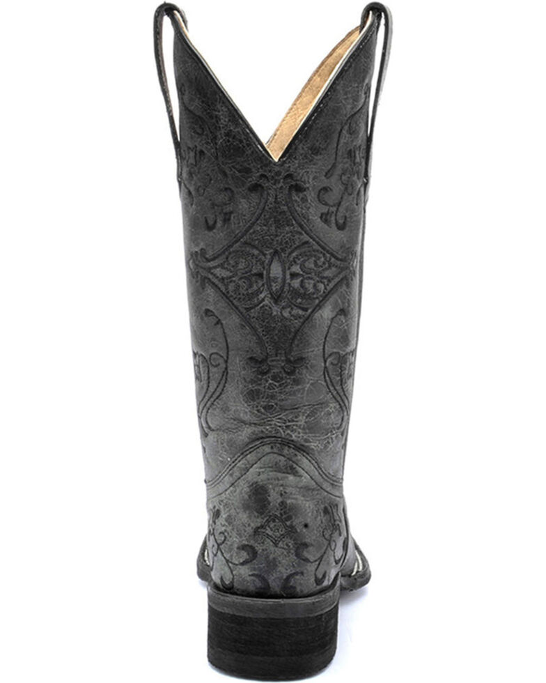 Corral Women's Black Embroidered Boots - Wide Square Toe , Black, hi-res