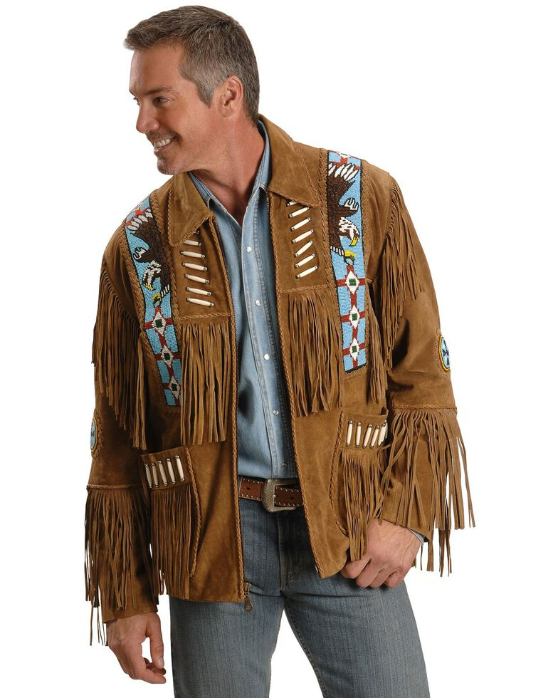 Liberty Wear Eagle Bead Fringed Suede Leather Jacket - Big & Tall, Tobacco, hi-res