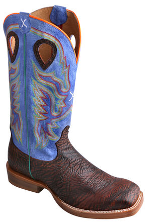 Twisted X Ruff Stock Royal Blue Cowboy Boots - Square Toe, Chocolate, hi-res