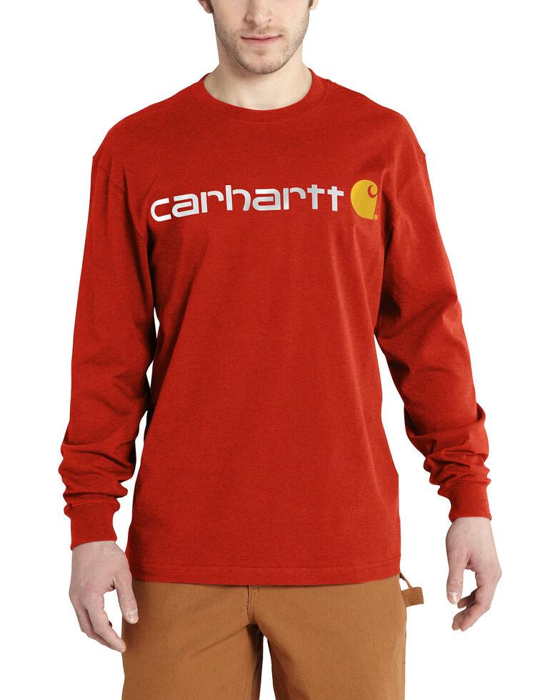 Carhartt Signature Logo Sleeve Knit T-Shirt - Big & Tall, Orange, hi-res