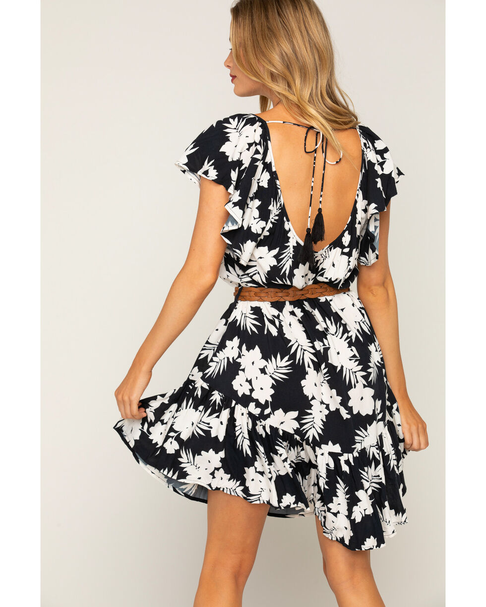 Shyanne Women's Floral Printed Flutter Dress With Belt, Black/white, hi-res