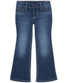 Wrangler Girls' Abigail Medium Wash Pink Pocket Stitch Stretch Bootcut Jeans , Blue, hi-res