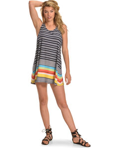 Derek Heart Women's Print Crochet Back Trapeze Dress , Navy, hi-res