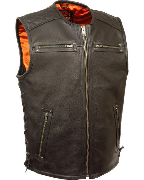 Milwaukee Leather Men's Zipper Front Full Side Lace Leather Vest - 3X, Black, hi-res